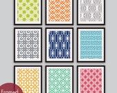 Mod Scandinavian Prints Collection  (Series A) - Set of 9 - Art Prints - (Assorted Colors) Modern Geometric Art Prints