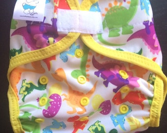 Colorful Dinosaurs Poly PUL Cloth Diaper Cover With Aplix Hook&Loop Or Snaps You Pick Size XS/Newborn, Small, Medium, Large, or One Size