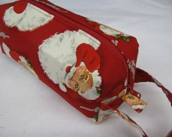 Retro Christmas Santa - Surprise embroidery Inside - Cosmetic Bag Makeup Bag LARGE