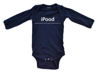 Hilarious Funny iPood (When you think you have the latest, another one comes out) - Long Sleeve Punny Pun Baby Bodysuit Baby Shower Gift