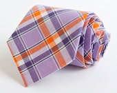 men's purple and orange organic madras plaid necktie