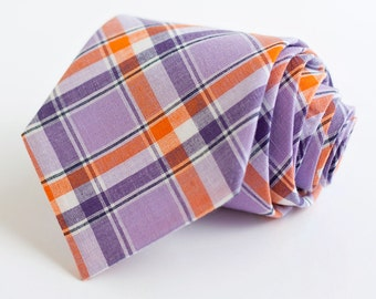 Necktie, Neckties, Mens Necktie, Neck Tie, Mens Necktie, Groomsmen Necktie, Ties, Wedding Neckties - Purple And Orange Organic Madras Plaid