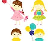 ON SALE Boy and girl with balloons Digital clip art  for all use , boys boy clip art clipart, girl girls clip art clipart