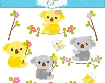 ON SALE Koala clip art - Digital clip art for all use, Koala and Butterfly 2, bear clip art, gray, yellow, Instant download