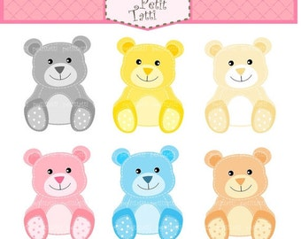 ON SALE teddy bear clip art, SALE Digital clip art, Teddy bears, stitch teddy bear clip art, Instant download