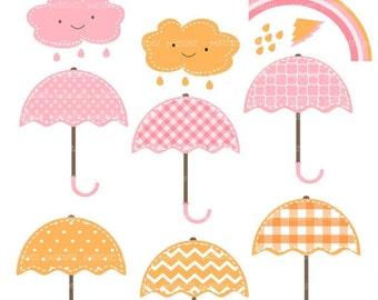 ON SALE Umbrellas Clip Art - Digital clip art ,, umbrella rainy season , pink and orange clip art, instant download clip art umbrella