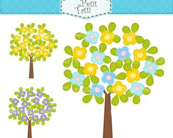ON SALE yellow tree clip art clipart, tree clipart, kids birthday parties,  Digital clip art, Flowers tree 2, trees clip art, yellow blue