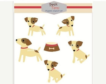 ON SALE dogs clip art - Digital clip art, Jack Russell 2 instant download, dog clip art, cute dog