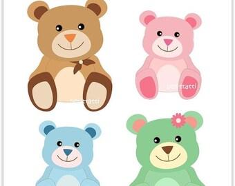 ON SALE Bear Clip Art _ Teddy Bear Clipart. Soft toy, Teddy Bears, Digital clip art, baby bears, Instant download