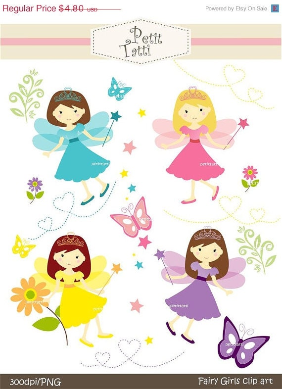 ON SALE fairy girls clip art - girl clip art, girl clipart, Digital clip art, JPEG and Png, Instant Download