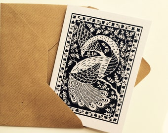 White Peacock - Greeting Card