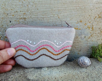 Felted coin purse. Upcycled pouch in sand and pink with abstract waves embroidered by hands