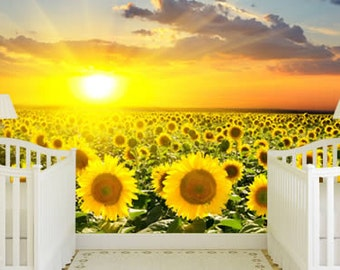 Sunflowers Field Removable and Reusable Wall Mural