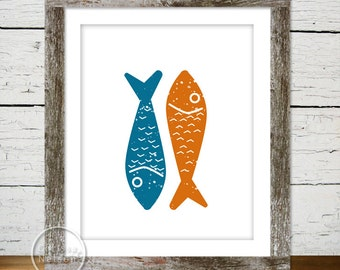 Fish Art Print Poster - Instant Download 8x10
