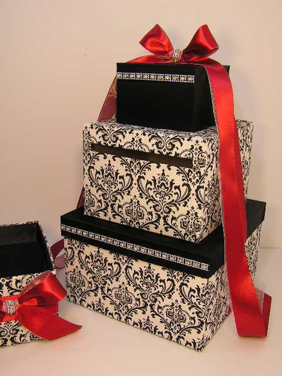 Black Wedding Gift Card Box : Wedding Card Box Damask / Black and Red Gift Card Box Money Box Holder ...