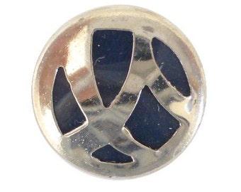 Art Deco Chrome Metal Blue Blazer Button (00326)*Available in Quantity*