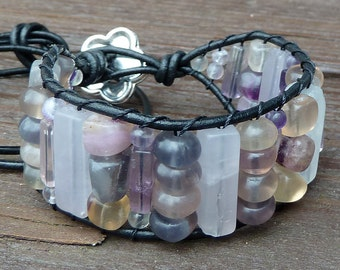 Purple Fluorite Cuff Bracelet - Purple Fluorite Beads, Rainbow Fluorite Beads, Black Leather Bracelet
