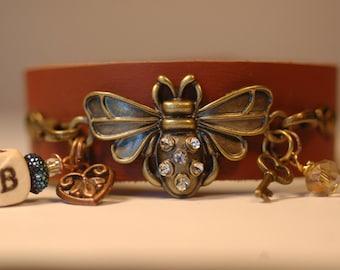 Bee Bracelet , Leather Cuff Charm Bracelet , Bee Charm Bracelet , Statement Bee Cuff
