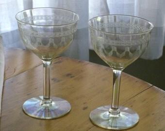 Vintage Set of 6 Sherbet Stems, Iridescent Optic Etched Wine Glasses, Slightly Ribbed Elegant Opalescent Barware