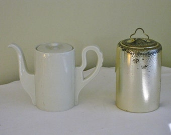 Vintage Creamy White Porcelain China German Coffee Pot with Silver plate Hammered Cozy Sleeve, Selb Bavaria Germany