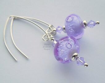 Sterling silver violet lampwork earrings, violet lampwork earrings, sterling silver earrings