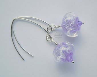 Lilac bubble lampwork earrings, fizzy earrings, sterling silver earrings, lilac glass earrings, lampwork jewelry