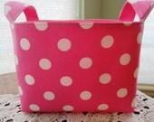 Fabric Organizer Basket Storage Container Bin Pink with White Polka Dots