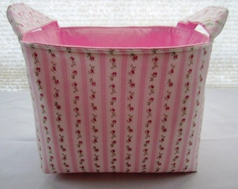 Organizer Storage Basket Bin Container Fabric - Shabby Rose Pink