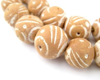 35 Natural Terracotta Beads - Mali Clay Beads 16mm - African Clay Beads - Terra Cotta Jewelry Supplies - Made in Mali ** (MALI-RND-CLAY-238)