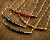 Micro Faceted Pyrite and Gemstone Rondelle 14kt Gold Filled Color Block Necklace - Sapphire, Garnet or Black Spinel