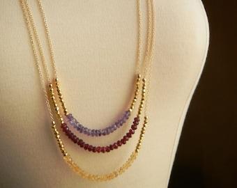 Long Golden Pyrite Rondelle and 14kt Gold Filled Color Block Necklace