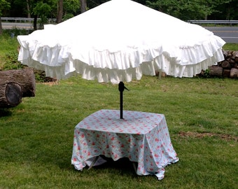 Shabby Ruffled White Umbrella Cover