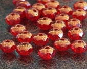 Ruby Red Copper Czech Donut Glass Beads 3x5mm 25 Faceted Rondelle Gemstone-Cut