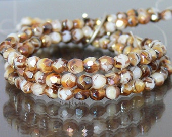 White Tortoise Celsian, Fire Polished Czech Beads 4mm 50 Faceted Round GLass