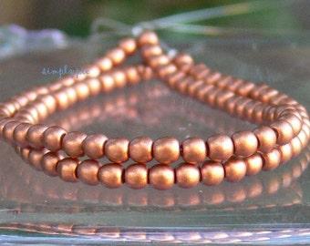 Satin Copper Round Czech Beads 3mm 50 Glass Druk