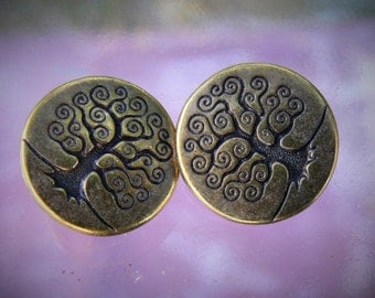 Tree of Life TierraCast Button Antiqued Brass 2 Pcs Charms
