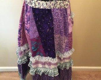 Purple Pixie Patchwork Knee Length Skirt