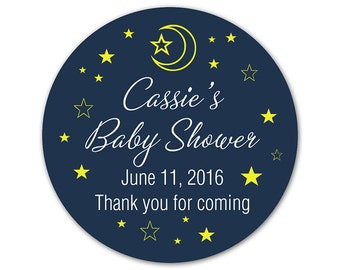 Personalized Baby Shower Favor Labels - Custom Modern Stickers - Moon & Stars - Favor Stickers - Choose Your Colors