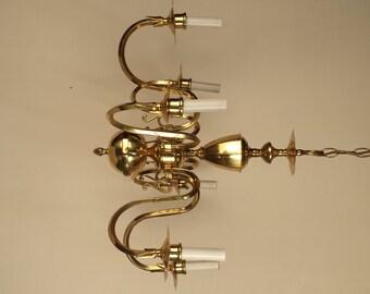 Vintage Brass chandelier, Small 6 arm chandelier, gold chandelier