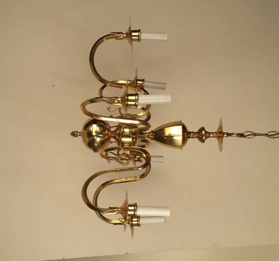 Vintage Brass chandelier Small 6 arm chandelier gold – Vintage Brass Chandeliers