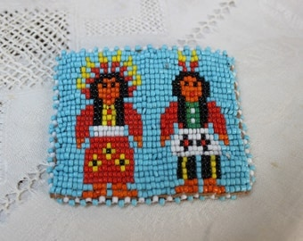 Beaded Coin Purse Native American Glass Beads Souvenir Southwest VINTAGE by Plantdreaming