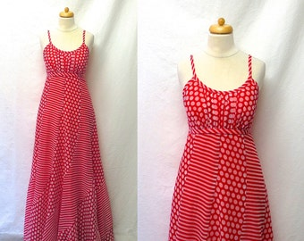 1970s Vintage Voile Maxi Dress / Red & White Striped Polka Dot Dress