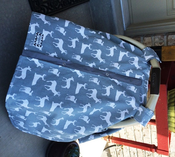 car seat canopy Gray Deer/ car seat cover / nursing cover / carseat canopy / carseat cover