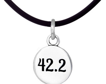 42.2K Marathon Sterling Silver Charm Necklace- Running Jewelry