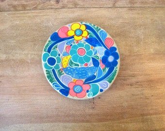 Handpainted Floral Seascape Ceramic Mexican Plate