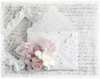 Shabby Chic Embellished Doily Envelope for Scrapbooking, Cardmaking, Altered Art, LittleScrapShop
