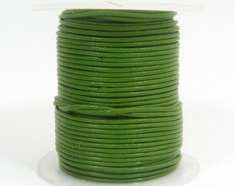 1mm Round Indian Leather - Green - L1G-13896