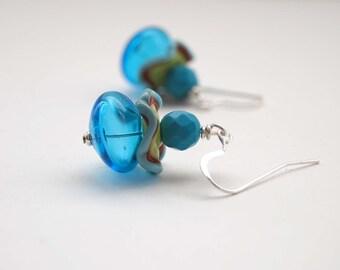 Blue Earrings, Whimsical Earrings, Lampwork Glass Earrings, Funky Earrings, Ruffle Earrings, Fun Earrings