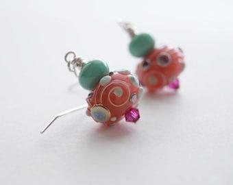 Pink Earrings, Lampwork Earrings, Glass Bead Earrings, Whimsical Earrings, Mint Blue Earrings, Pastel Color Earrings