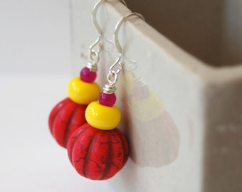 Bright Neon Pink Earrings, Bold Color Earrings, Pumpkin Shaped Earrings, Stone Bead Earrings
